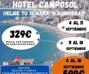 BENIDORM Hotel Camposol en Septiembre 2021