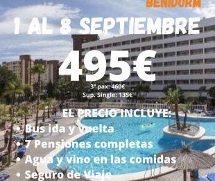 BENIDORM HOTEL POSEIDON RESORT  1 al 8 Septiembre 2021